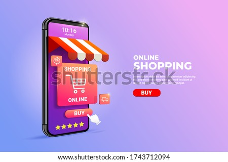 Shopping Online on Mobile phone Application Concept illustration and Digital marketing promotion. 3d smartphone with store cart icon on Horizontal view. #1743712094