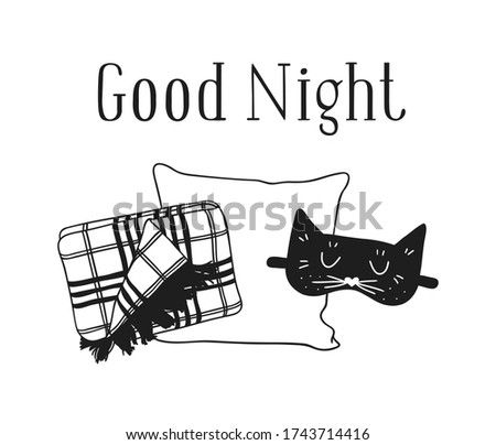Hand drawn objects about Sleep Routines and text. Cozy Illustration. Creative artwork. Set of doodle and quote