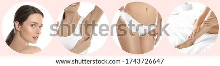 Collage with photos of woman showing smooth skin after epilation. Banner design Royalty-Free Stock Photo #1743726647