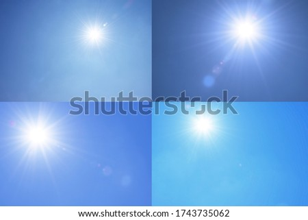 Collection of sun shines.Blur image of a Beautiful morning Sun shines in blue sky.sunburst with Lens flare light over black background.