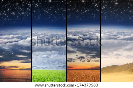 Scenic landscape collection including sunset and day light meadow, desert and sea #174379583