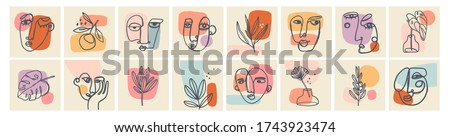 Big Set of Various Faces, Leaves, Flowers, abstract shapes. Ink painting style. Contemporary Hand drawn Vector illustrations. Continuous line, minimalistic elegant concept. All elements are isolated #1743923474
