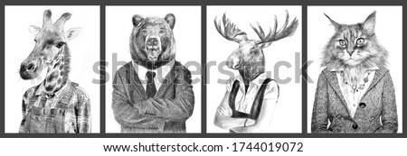 Animals in clothes. People with heads of animals. Concept graphic, photo manipulation for cover, advertising, prints on clothing and other. Giraffe, bear, moose, cat