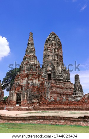 The ruins of Chaiwatthanaram Temple in Thailand. It was a royal temple complex during the Ayutthaya Period. The main architecture which is also the principal monuments of five Pagodas. #1744023494