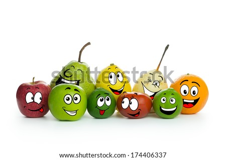 Various fruit cartoon characters on white background