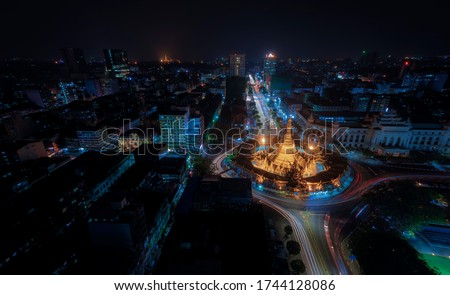 Night Scape Sule Pagoda Center of city in Yangon, Myanmar,downtown,Sule,pagoda.yangon,myanmar,city,night,lights,modern,road,cityscape,landscape. #1744128086