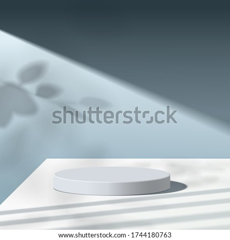 Abstract minimal scene with geometric forms. white podium in blue background with leaves. product presentation, mock up, show cosmetic product display, Podium, stage pedestal or platform. 3d vector #1744180763