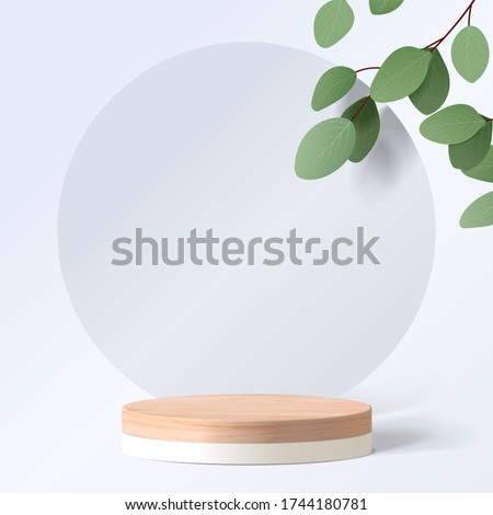 Abstract minimal scene with geometric forms. cylinder wood podium in white background with leaves. product presentation, mock up, show cosmetic product, Podium, stage pedestal or platform. 3d vector #1744180781