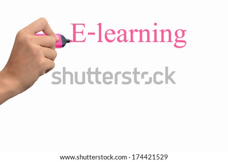 Business hand writing E-learning concept  #174421529
