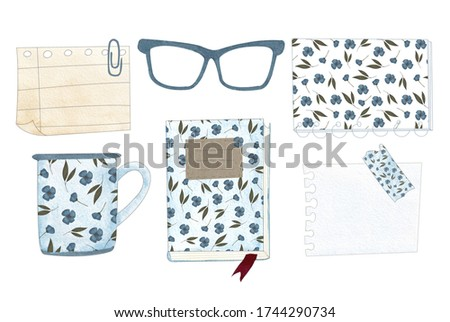 illustration of book, cup, notebook, glasses, blank note paper, plan, bookmark isolated on white background made in watercolor technique, school, university, modern, vintage . Plan on. Back to school
