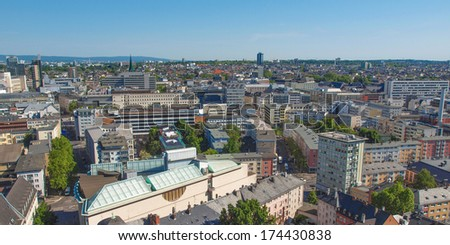 Aerial view of the city of Frankfurt am Main in Germany - wide panoramic view #174430838