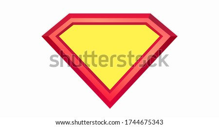 Shield templates on a white background. The layout of the shield of Superman with the shadow. Color bright shield drawn in a flat style. Web design. Vector illustration