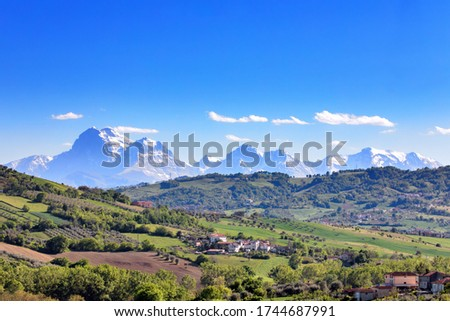 Italy Gran Sasso National Park mountain ranges in Abruzzo region in landscape panoramic scenic views #1744687991