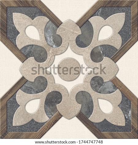 Floral Patterned Stone Design for Parking and Floor Tiles, Geometric Tile Design