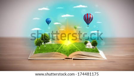 Open book with green nature world coming out of its pages, ecological concept #174481175