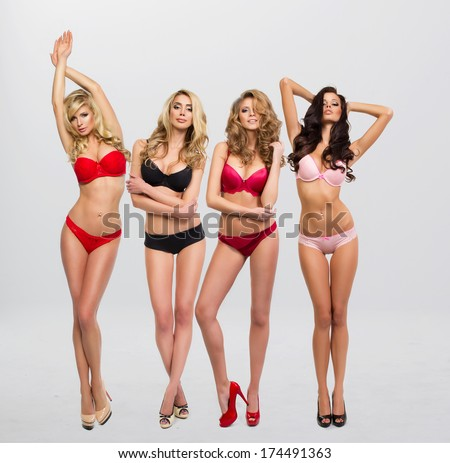 beautiful women in full growth pose in front of the chamber in lingerie  #174491363