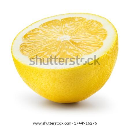Lemon half isolate on white. Lemons half side view on white. Sliced lemon. one, 1 lemon fruit. With clipping path. #1744916276