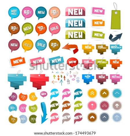 Colorful Retro Paper Set of Discount and New Vector Labels, Tags, Arrows #174493679