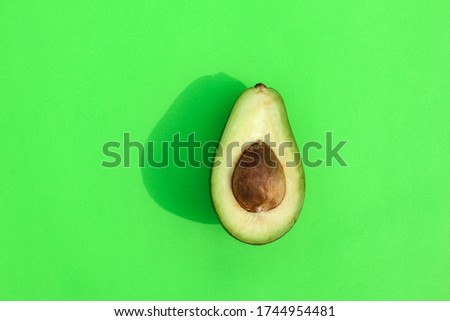 avocado color on a solid background, the top view pattern