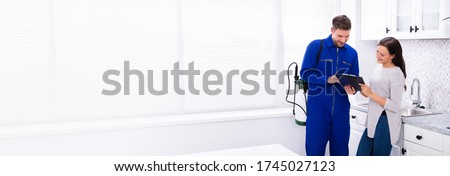 Happy Woman And Pest Control Exterminator And Maintenance Worker Royalty-Free Stock Photo #1745027123