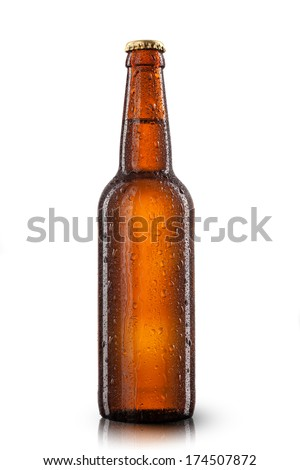 Beer bottle with water drops isolated on white Royalty-Free Stock Photo #174507872