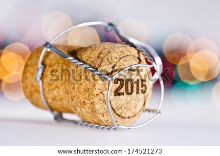 New Year's Eve/Champagne cork new year's 2015 Royalty-Free Stock Photo #174521273