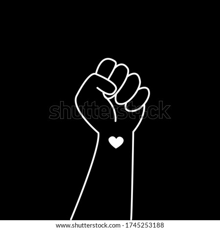Hand symbol for black lives matter protest in USA to stop violence to black people. Fight for human right of Black People in U.S. America. Flat style vector #1745253188