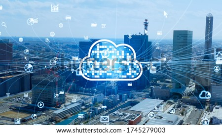 Cloud computing concept. Software as a Service. SaaS. Communication network. Royalty-Free Stock Photo #1745279003