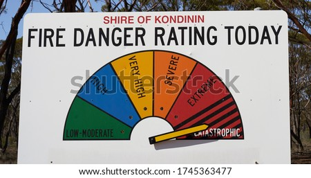 Fire Danger Rating Display Board. Sign has half circle broken up to segments representing fire danger level. Dial gauge set to Catastrophic I Royalty-Free Stock Photo #1745363477