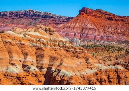 USA. Arizona, Utah. Huge slopes of red sandstone, striped from various inclusions of light rocks. Paria Canyon-Vermilion Cliffs Wilderness Area. The concept of active, extreme and photo tourism #1745377415