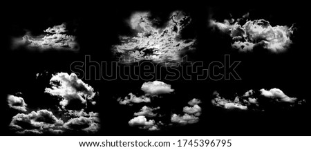 Collection of abstract white clouds isolated on black background. Royalty high-quality free stock photo image set of isolated cloud on black background. Overlay textured smoke,brush effect