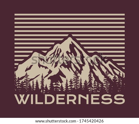 Vintage Outdoor Mountain Illustration with Wilderness Slogan Vector Artwork for T-shirt Print And Other Uses Royalty-Free Stock Photo #1745420426