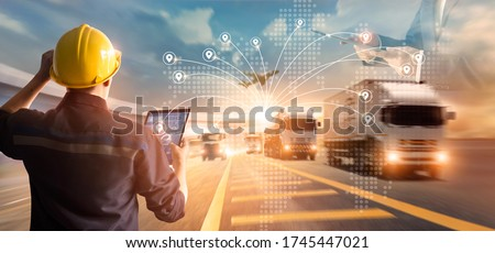 Transport and logistic concept, Manager and engineer checking and control logistic network distribution and data on tablet for logistic Import export on motorway background #1745447021