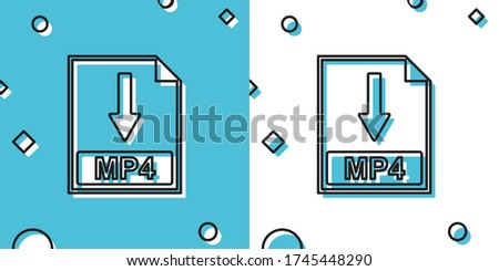 Black MP4 file document icon. Download MP4 button icon isolated on blue and white background. Random dynamic shapes. Vector Illustration