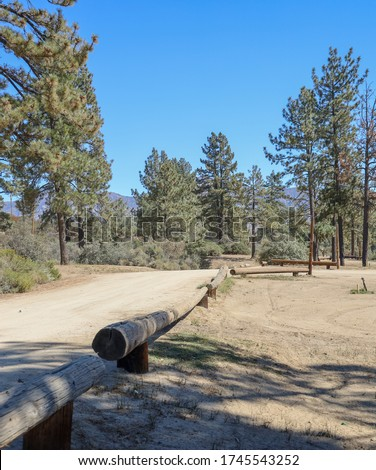 View of road at Lake Hemet campground in California.