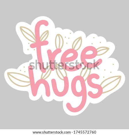 Vector graphic printable sticker cut file template of free hugs patch