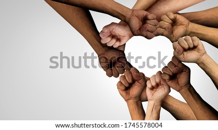Peaceful Protest group and protester unity and diversity partnership as heart hands in a fist of diverse people together as a nonviolent resistance symbol of justice and fighting for a good cause. Royalty-Free Stock Photo #1745578004