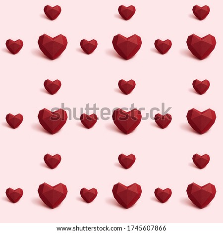 Seamless pattern with dark red polygonal paper heart on pink background. Wallpaper for Valentines Day. Love concept. Bright colors. Minimal style.