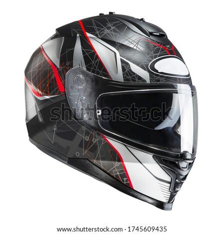 Black & Red Motorcycle Full Face Helmet Isolated on White Background. Fibreglass Scooter Helmet. Sport Touring Motorbike Helmet. Protective Equipment. Modern Headgear #1745609435