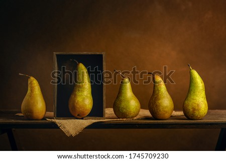 Scene played with pears. Metaphor. Exclusivity concept. Personal boundaries, isolation, quarantine Royalty-Free Stock Photo #1745709230