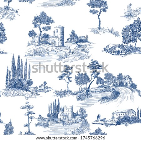 Toile de jouy pattern with countryside views with castles and houses and landscapes with trees, river and bridges with road in blue color Royalty-Free Stock Photo #1745766296