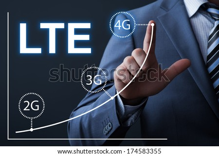 business, technology, internet and networking concept - businessman pressing button on virtual screens Royalty-Free Stock Photo #174583355