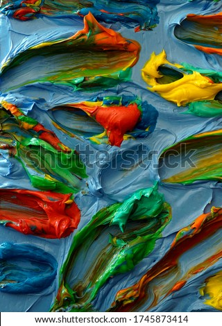 Dynamic colorful abstract brush strokes. Original impasto oil, acrylic. Brush strokes of paint. Modern, Contemporary art. Very thick paint. Great for web design, background, book, album covers.