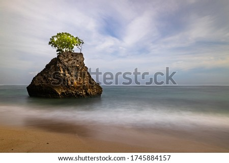 Amazing seascape. Sandy beach during daylight. Rock with tree in the ocean. Waves captured with slow shutter speed. Long exposure with soft focus. Sky with clouds. Bingin beach, Bali, Indonesia