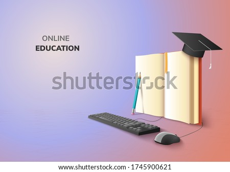 realistic Digital Online concept. Education Application learning on gradient website background. decor by book lecture pencil  computer mouse keyboard Graduation hat. 3D vector Illustration copy space #1745900621