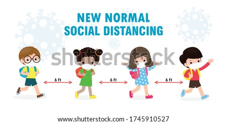 Back to school for new normal lifestyle concept. happy kids wearing face mask and social distancing protect coronavirus covid 19, group of children and friends go to school isolated on background #1745910527