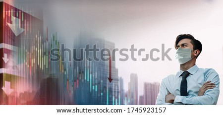 Covid-19 or Corona Virus Situation in Business. Businessman with Surgical Mask Looking away. Financial or Economy Crisis Concept. Recession of Stock Market is going Crash and Down Royalty-Free Stock Photo #1745923157