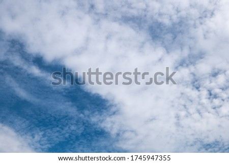 Picture of b eautiful clouds with blue sky background. Nature weather, cloud blue sky and sun
