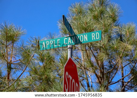 View of Apple Canyon Rd and S.H. 74 intersection road name sign.
