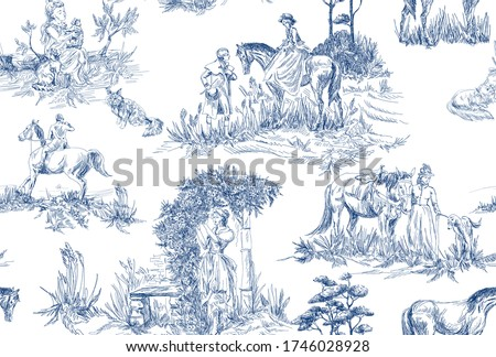 Pattern with landscapes with old , countryside and  people with horses, trees, woman with flowers in blue and white color in toile de jouy style Royalty-Free Stock Photo #1746028928